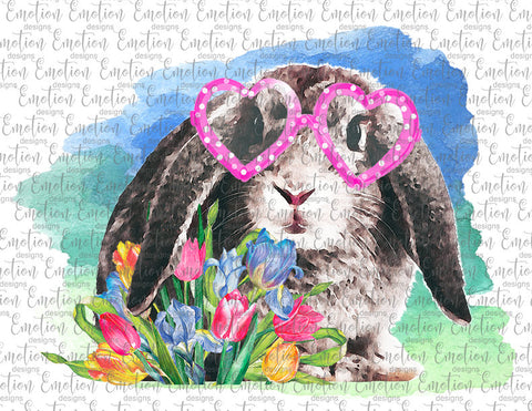 Rabbit with Flowers & Glasses - Heat Transfer/Sublimation Transfer