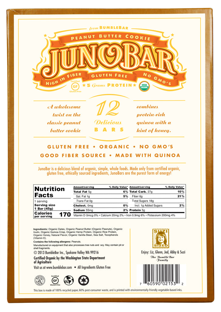 JunoBar Peanut Butter Cookie (12 Bars)
