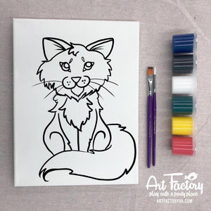 Pre-Traced Canvas - Fluffy Cat