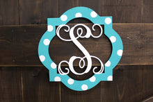 "Load image into Gallery viewer, To Go Kits for Moms- Large 22"" Wooden Door Hanger ""Quatrefoil F"""