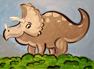 Pre-Traced Canvas - Triceratops