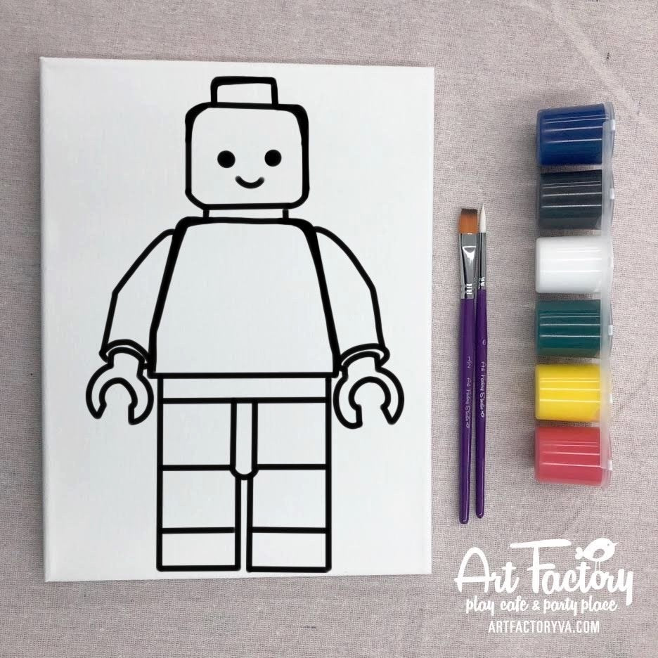 Pre-Traced Canvas - Brick Man