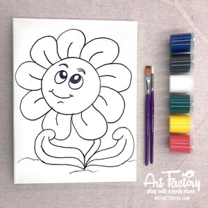 Pre-Traced Canvas - Happy Flower