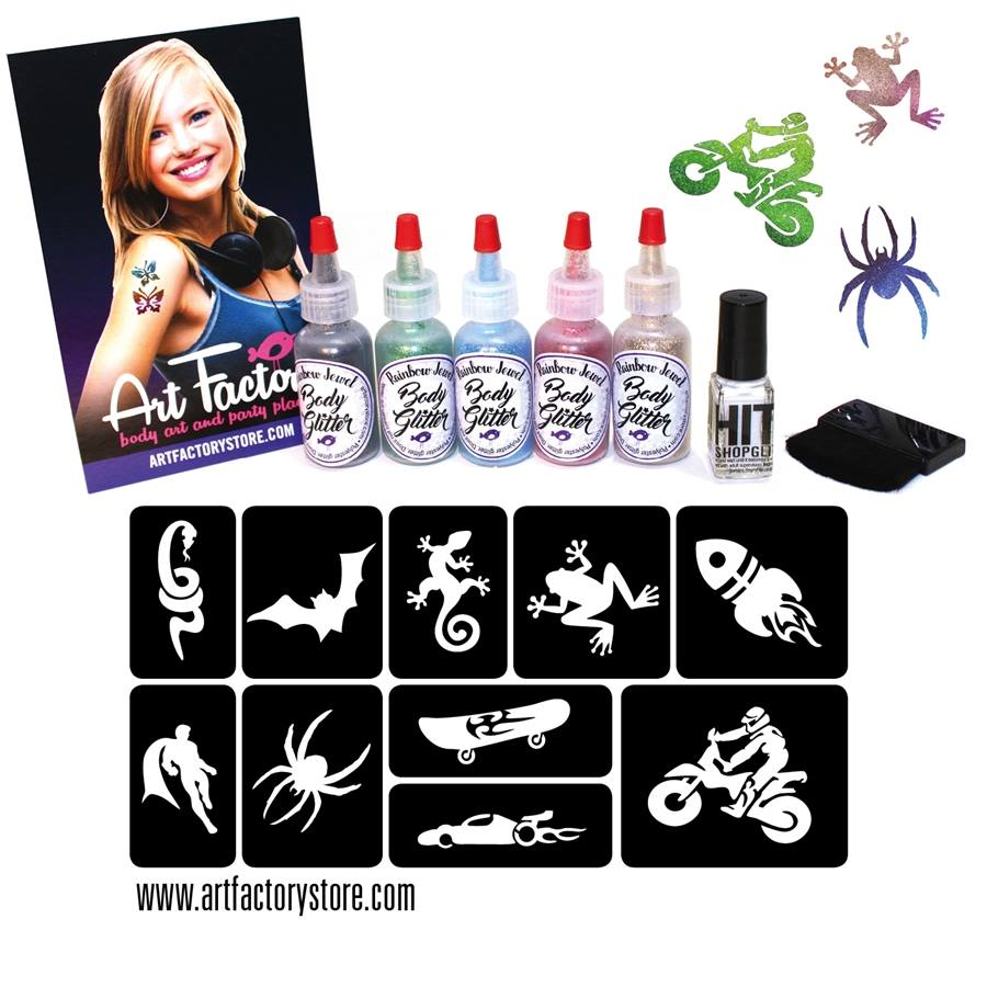Glitter Tattoo Kit by the Art Factory - Boy Themed