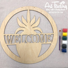 "Load image into Gallery viewer, To Go Kits for Moms- Large 22"" Wooden Door Hanger ""Welcome"""