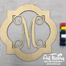 "Load image into Gallery viewer, To Go Kits For Moms - Large 22"" Wooden Door Hanger ""Quatrefoil M"""