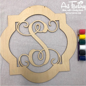 "To Go Kits for Moms- Large 22"" Wooden Door Hanger ""Quatrefoil S"""