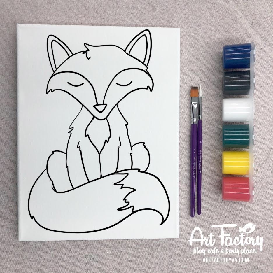 Pre-Traced Canvas - Fox