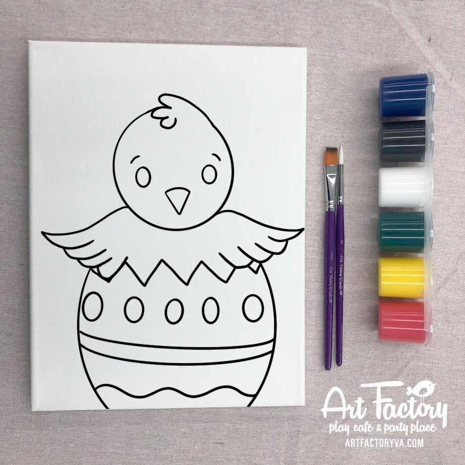 Pre-Traced Canvas - Easter Chick
