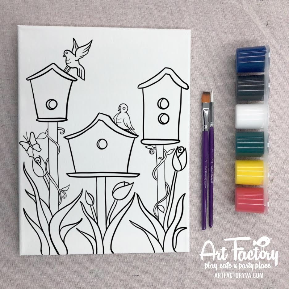 Pre-Traced Canvas - Birdhouses