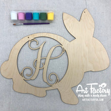 "Load image into Gallery viewer, To Go Kits for Moms- Large 22"" Wooden Door Hanger Bunny ""H"""
