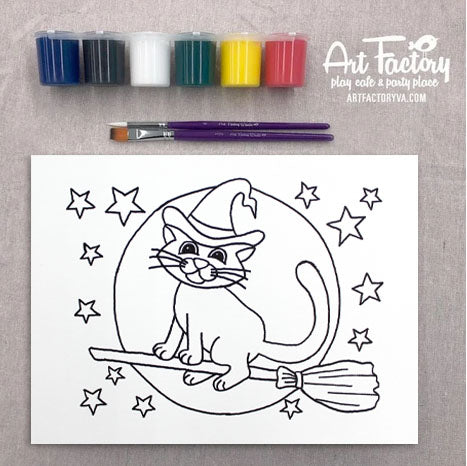 Pre-Traced Canvas - Bewitched Kitty