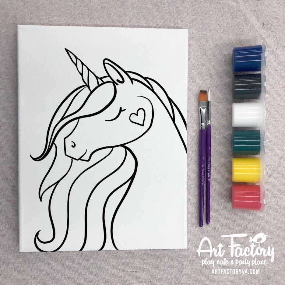 Pre-Traced Canvas - Cheeky Unicorn