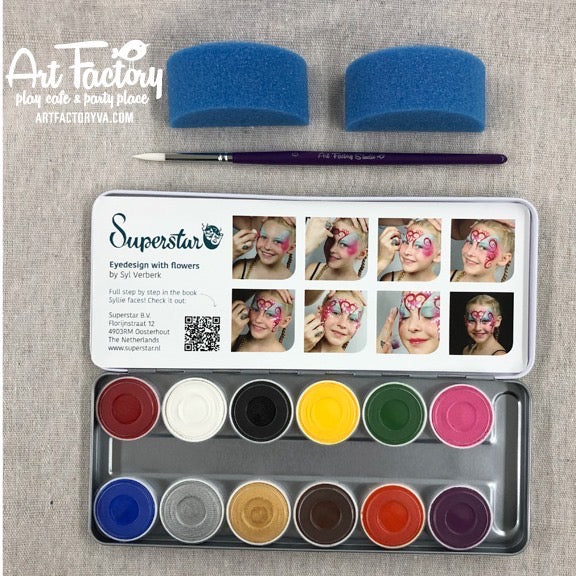 Superstar Professional Face Paint Kit - Bright Colors Palette (12 colors)