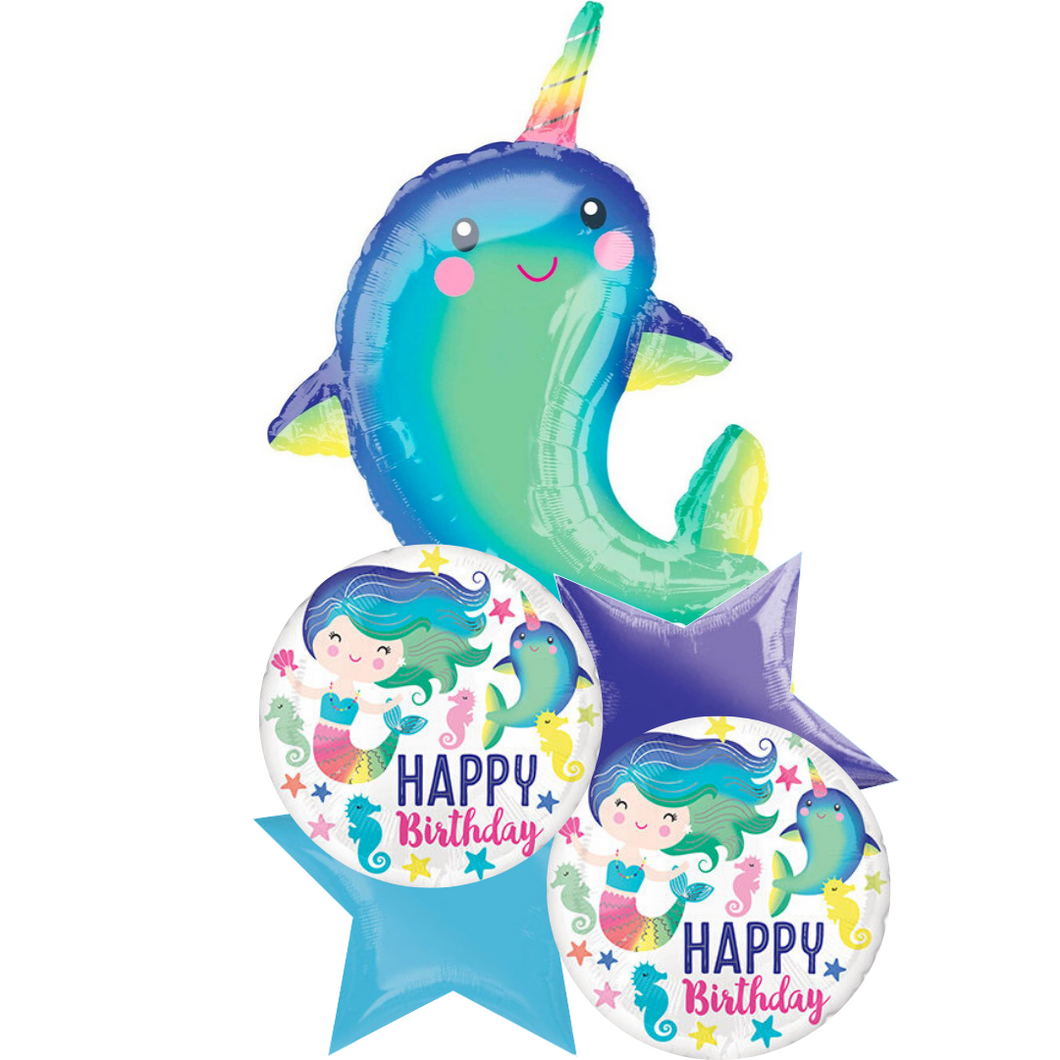 Balloon Bouquet - Happy Birthday Narwhal
