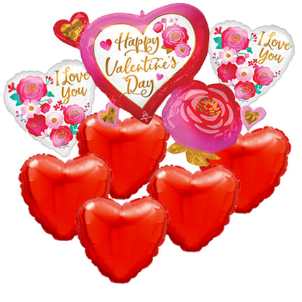 Valentine Balloon Bouquet - Rose Heart Large