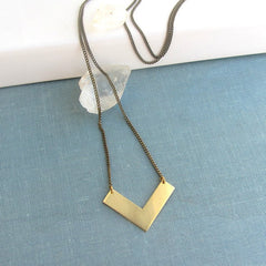 Long gold brass arrow chevron necklace, geometric necklace