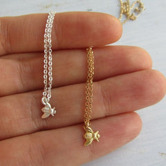 Tiny bumble bee necklace gold and sterling silver chain