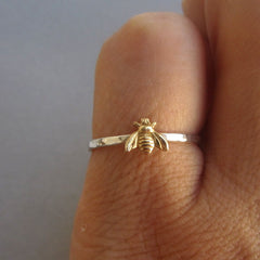 bee ring sterling silver and gold