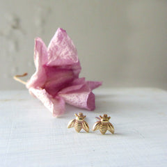 Bee stud earrings in gold brass and sterling silver
