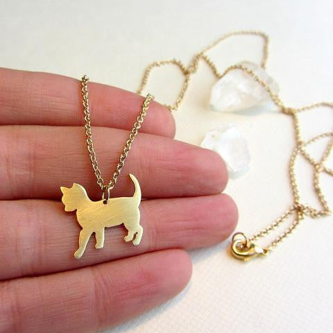 Long gold brass cat necklace,