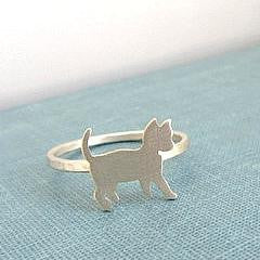 Sterling silver cat band ring.