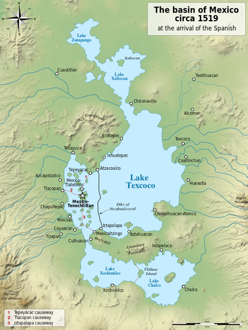 Lake Texcoco Basin circa 1519 By Lago_de_Texcoco-posclásico.png: YavidaxiuValley_of_Mexico_c.1519-fr.svg: historicair 13:51, 11 September 2007 (UTC)derivative work: Sémhur (talk) - Lago_de_Texcoco-posclásico.png, itself from :(fr) Niederberger Betton, Christine (1987) Paléo-paysages et archéologie pré-urbaine du Bassin de Mexico, México: Centro de estudios mexicanos y centroamericanos (CEMCA), pp. 500 ISBN: 3785726.Valley_of_Mexico_c.1519-fr.svg, itself from :(en) Coe, Michael; Snow, Dean; Benson, Elizabeth (1986) Atlas of Ancient America, New York: Facts On File, pp. 240 ISBN: 978-0816011995.(en) Townsend, Richard F. (1992) The Aztecs, London: Thames & Hudson, pp. 224 ISBN: 978-0500021132.(es) This picture incorporates information from La cuenca de México, special edition of Arqueología Mexicana, july-august 2007, Mexico.(es) This picture incorporates information from this version of the article Lago de Texcoco on the Spanish Wikipedia., FAL, https://commons.wikimedia.org/w/index.php?curid=9263087