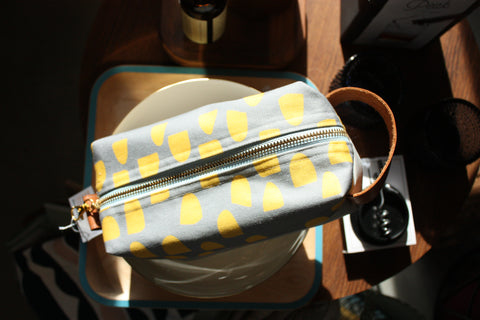 Grey with Yellow Dopp kit