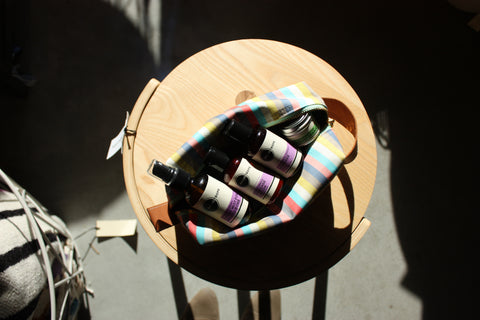 Striped Dopp kit with products