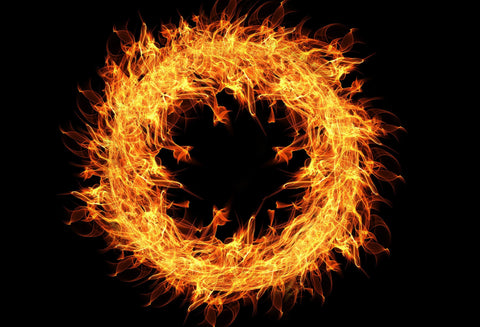 Circle of fire on a black background