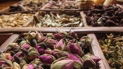 Aromatics - rose buds, star anise and other seeds and leaves in Marrakech market