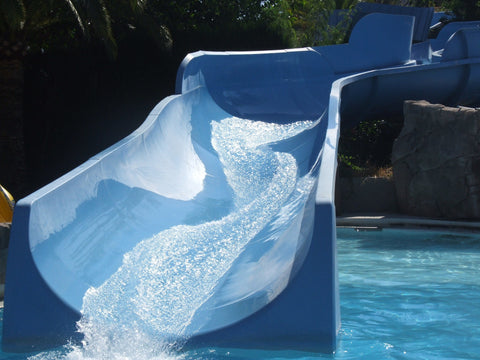 Water flowing down a water slide