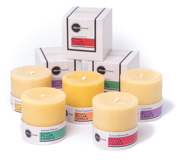 best beeswax & soy pillar candle all-natural aromatherapy