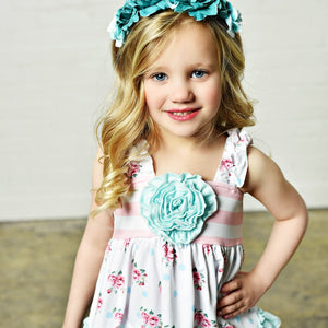 Pink & Teal Floral Tank & Stripe Shorts Set