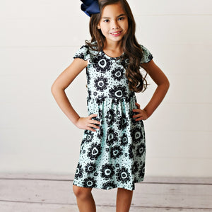 Teal Black Flutter Dress