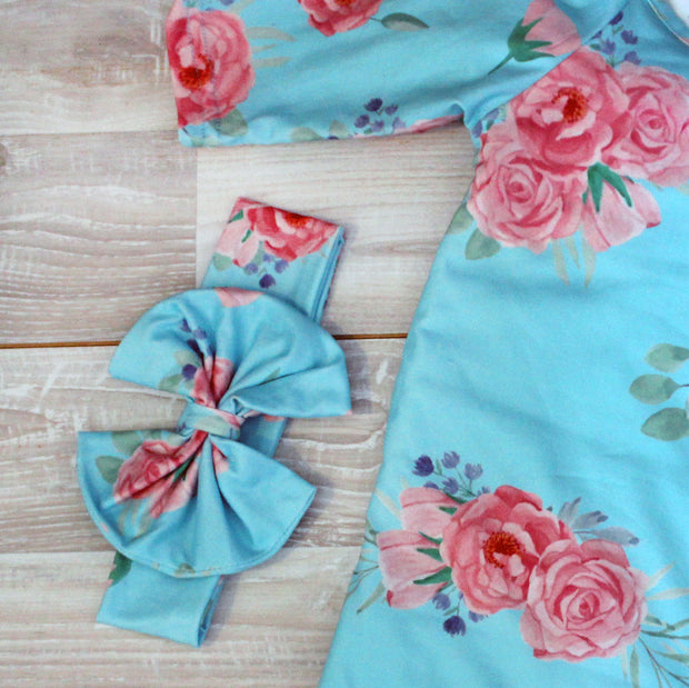 Teal Peach Baby Gown and Bow Headband 1