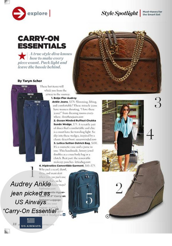 "US Airways Magazine, Jan 2014. Audrey ankle featured as ""Carry-on Essential."""