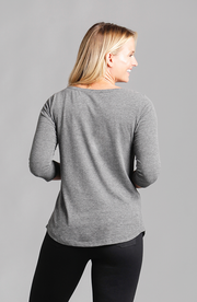 Brenda Boat Neck Top Dark Grey