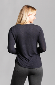 Veronica V-Neck Long Sleeve Top Black Viscose