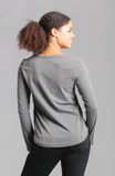 Beija-Flor Jeans Veronica V-Neck Long Sleeve Top Dark Grey