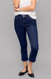 Jennifer High-Rise Flare Crop Indigo