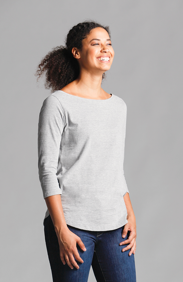 Brenda Boat Neck Top Light Grey