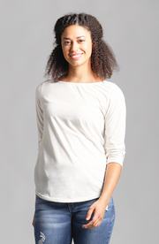 Brenda Boat Neck Top Textured Cream