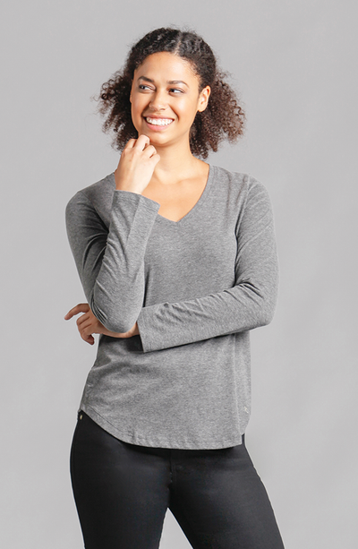 Veronica V-Neck Long Sleeve Top Dark Grey