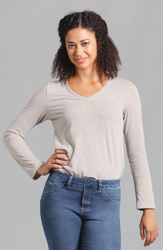 Beija-Flor Jeans Veronica V-Neck Long Sleeve Top Oatmeal