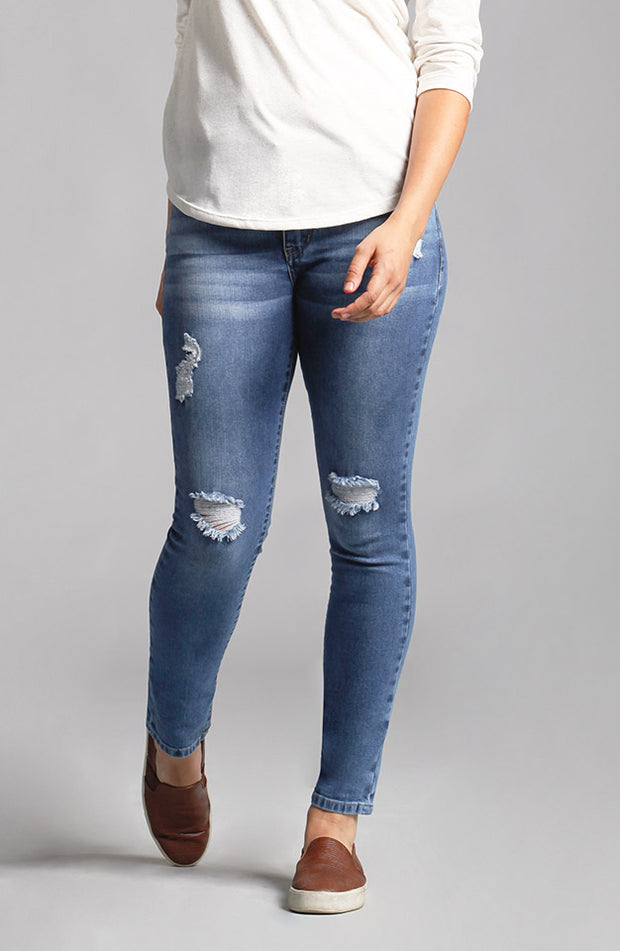 Audrey Ankle Distressed Blue