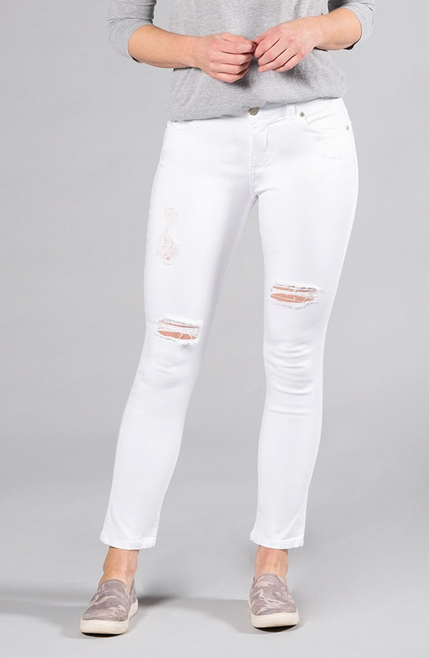 Beija-Flor Jeans Audrey Ankle Distressed Pure White