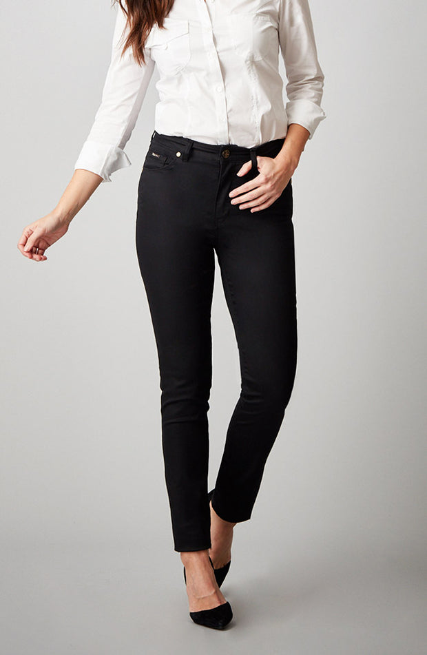 Jennifer High-Rise Skinny Satin Black