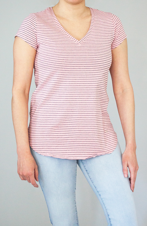 Beija-Flor Jeans Virginia V-Neck Pink & Grey Stripe