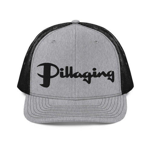 Pillaging Silver & Black Snapback Trucker Cap
